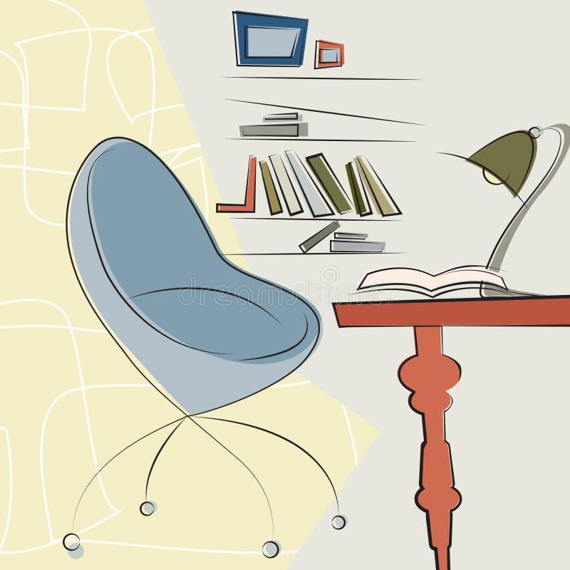Modern bureau binnenlands ontwerp royalty-vrije illustratie