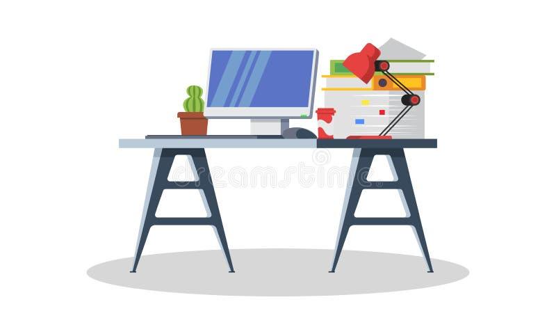 Modern bureau met computer, lamp, omslagen, boeken, kop thee of koffie, kantoorbehoeften royalty-vrije illustratie
