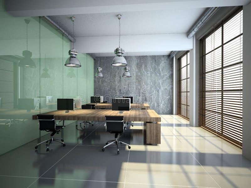 Modern bureaubinnenland met glas en beton royalty-vrije illustratie