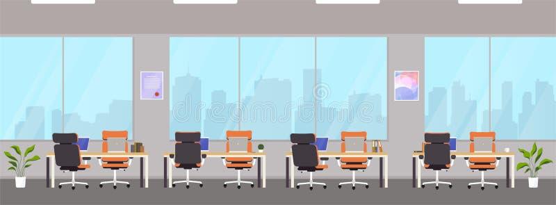 Modern bureaucentrum met werkplaatsen Lege werkruimte voor mede-werkt, ontwerp bedrijfsruimte met grote vensters, Desktops en sto vector illustratie