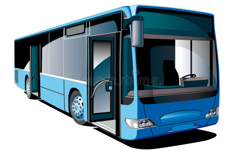 Modern Bus. Detailed ial image of modern european low-floor bus, isolated on white background
