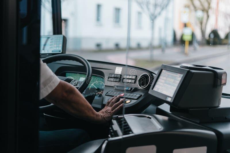 Modern bus interior stock photo