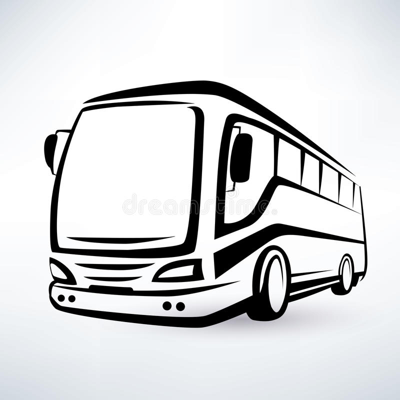Modern bus symbol. Outlined silhouette royalty free illustration