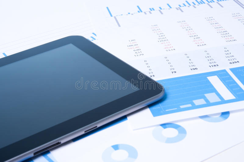 Modern business analysis with tablet royalty free stock photography