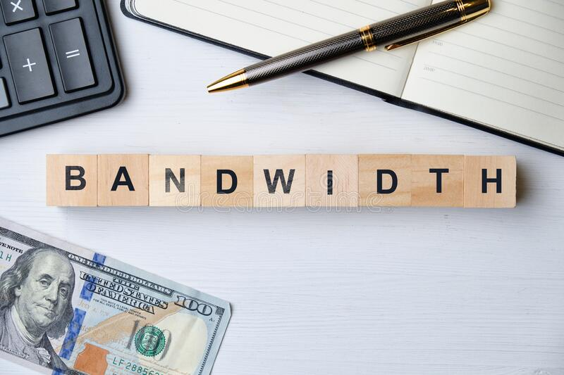 Modern business buzzword - bandwidth. Top view on wooden table with blocks. Top view. Close up royalty free stock images