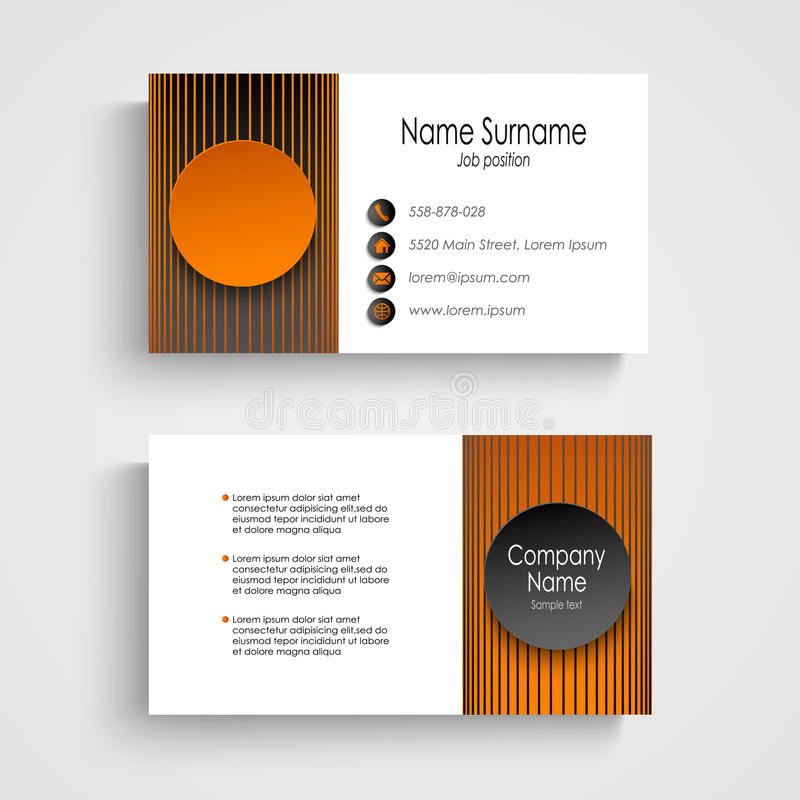 Modern business card with black orange round template stock vector download modern business card with black orange round template stock vector illustration of rectangle accmission Images