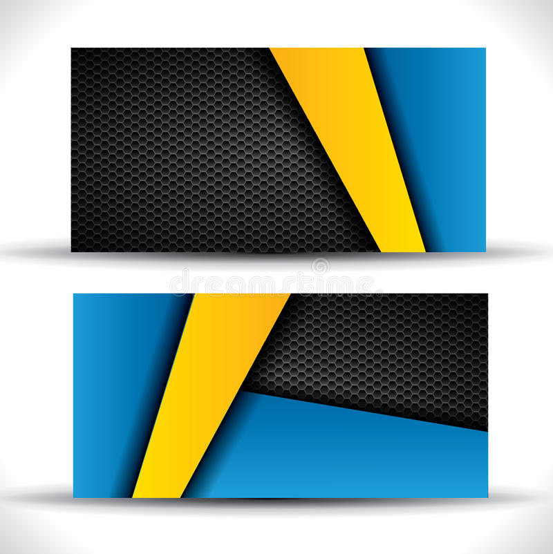 Modern business card - blue and yellow colors royalty free illustration
