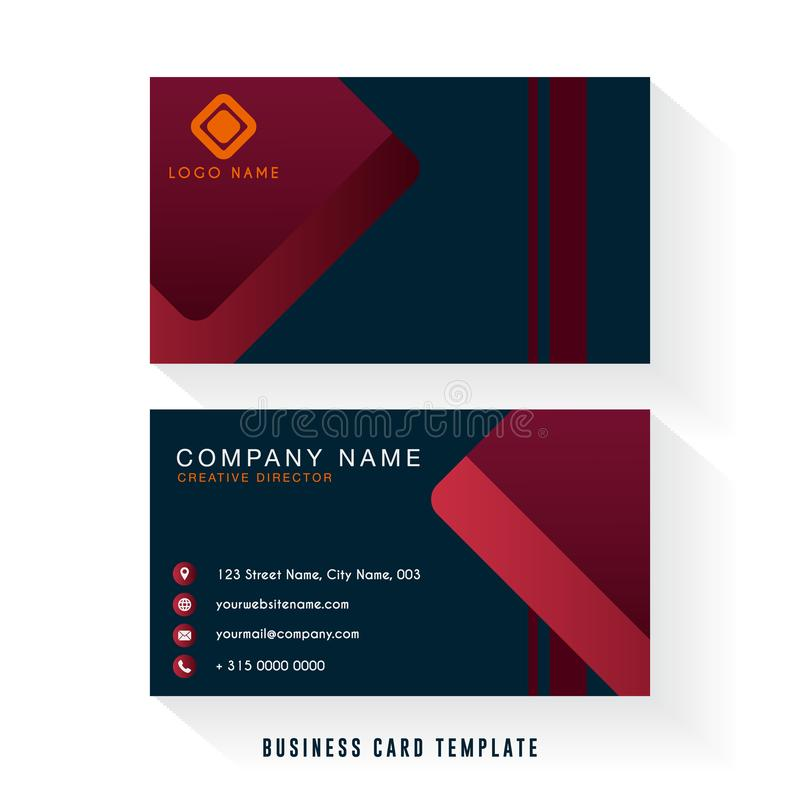 Modern business card with dark black and red color combination stock illustration