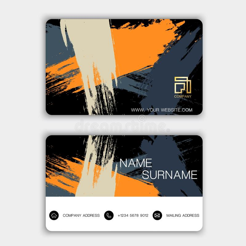 Modern business card design. With inspiration from abstract. Yellow color on gray background royalty free illustration