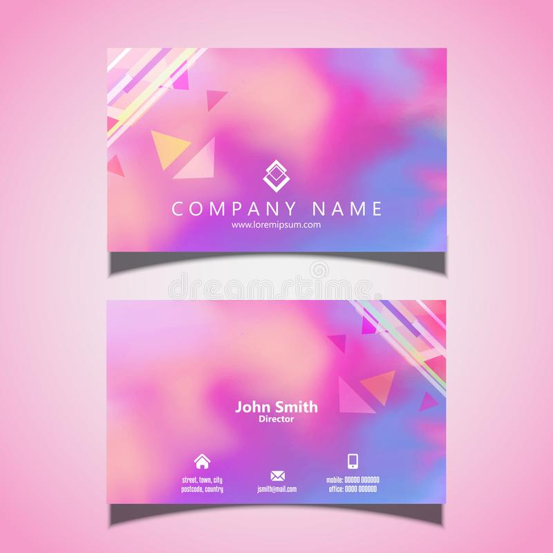 Modern business card design with watercolour texture royalty free illustration