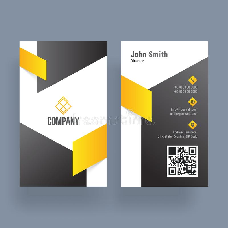 Download Vertical Business Card With Front And Back Presentation Stock Illustration
