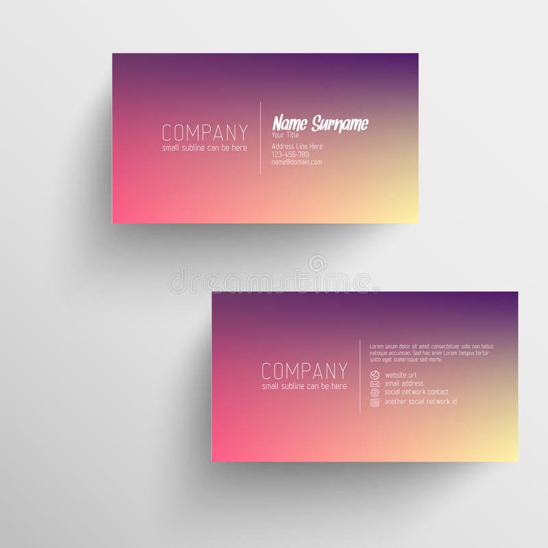 Download Modern Business Card Template With Blurred Background Stock Vector