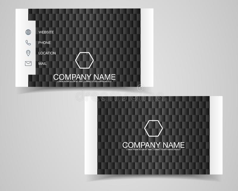 Modern business card template design. With inspiration from the abstract.Contact card for company. Two sided black and white . Vec royalty free illustration