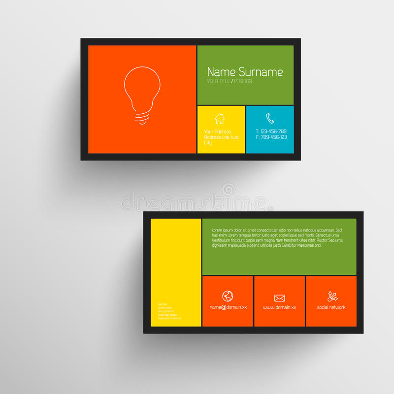 Modern Business Card Template With Flat Mobile User Interface ...