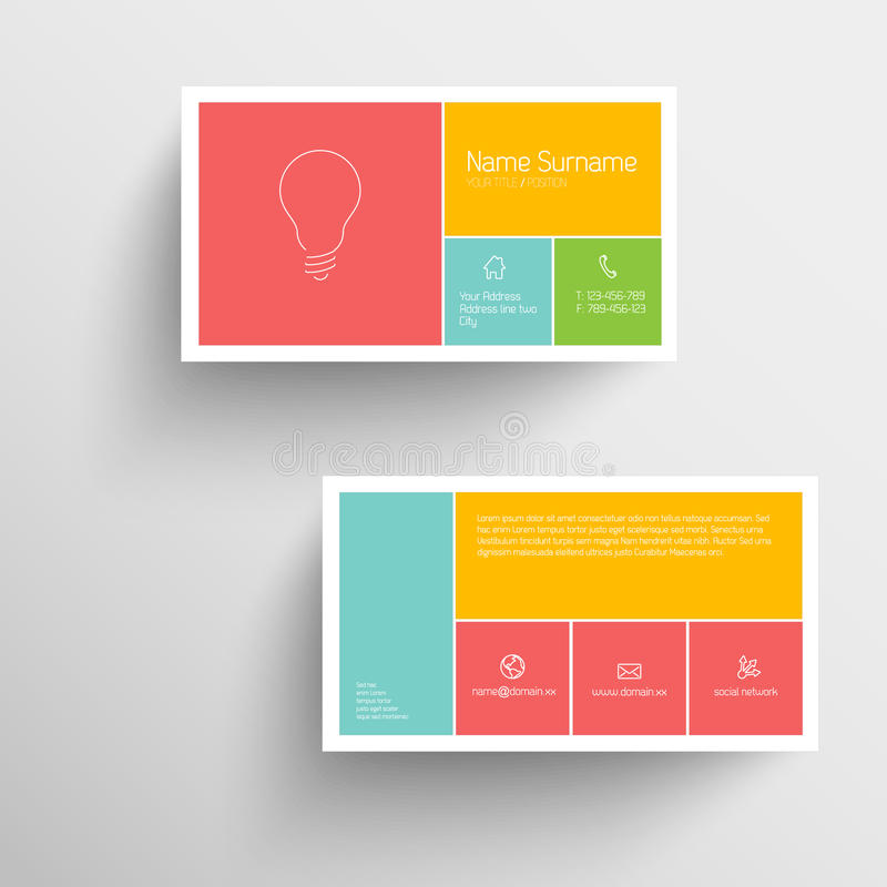 Modern business card template with flat mobile user interface. Modern simple business card template with flat mobile user interface royalty free illustration