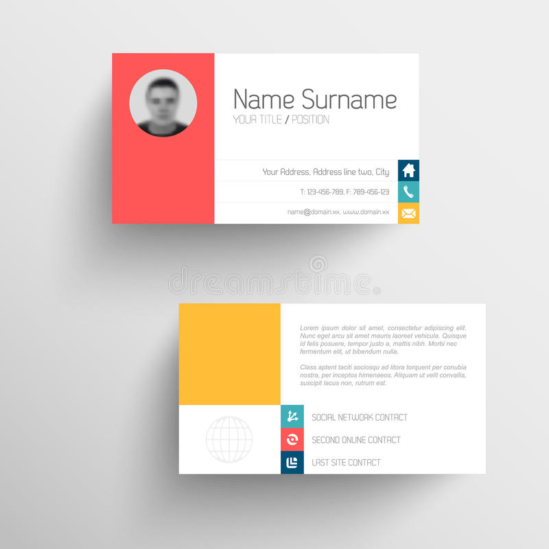 Modern business card template with flat user interface. Modern simple light business card template with flat user interface royalty free illustration