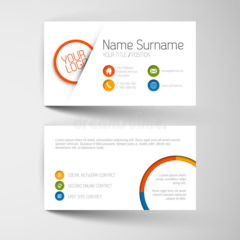 Modern Business Card Template With Flat User Interface Stock ...