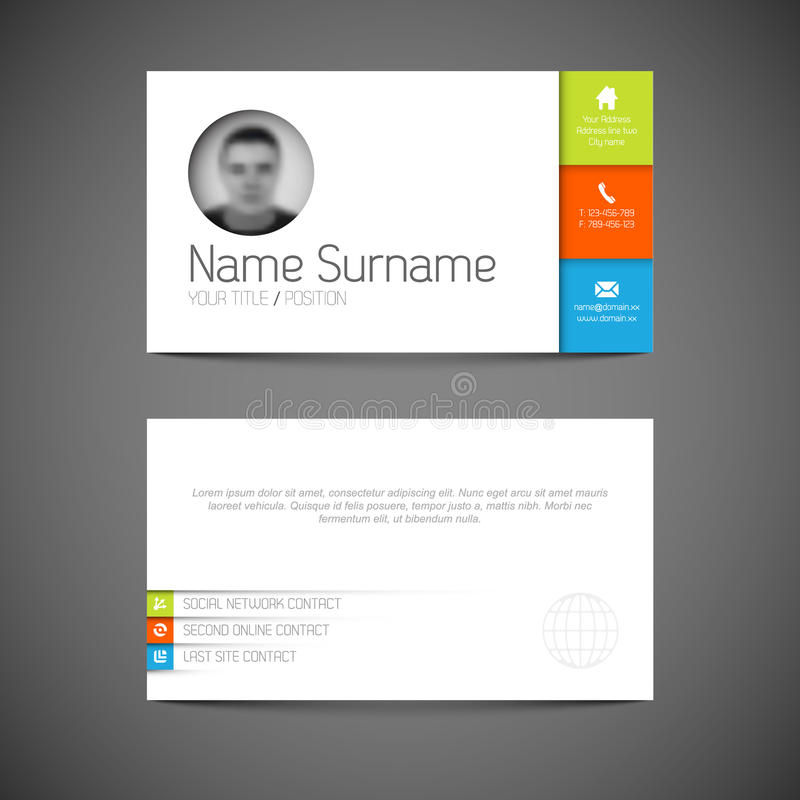 Modern Business Card Template With Flat User Interface Stock Vector ...