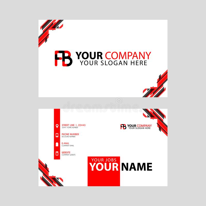 Modern business card templates, with FB logo Letter and horizontal design and red and black colors. royalty free illustration