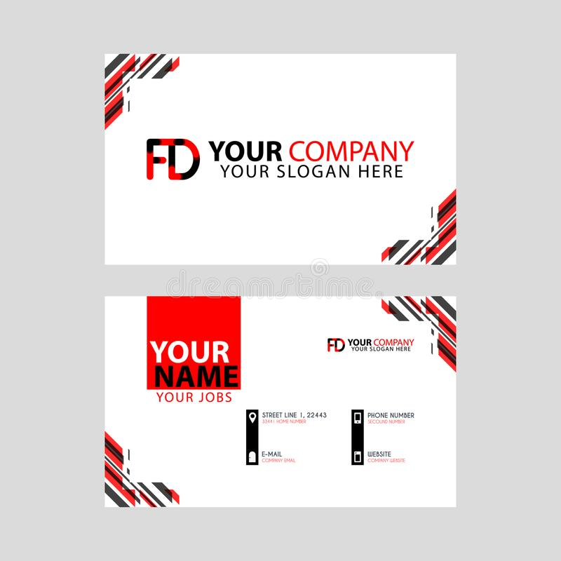 Modern business card templates, with FD logo Letter and horizontal design and red and black colors. royalty free illustration