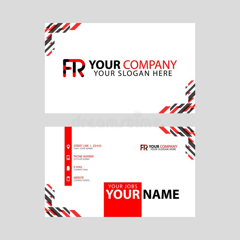 Modern business card templates, with FR logo Letter and horizontal design and red and black colors. vector illustration