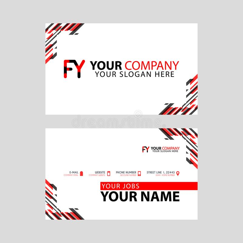 Modern business card templates, with FY logo Letter and horizontal design and red and black colors. stock illustration