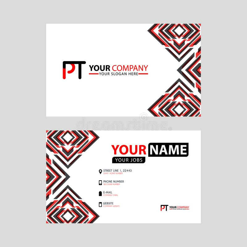 Modern business card templates, with PT logo Letter and horizontal design and red and black colors. royalty free illustration