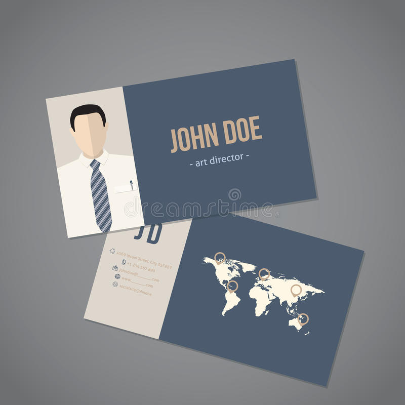 Modern Business Card With World Map Stock Vector - Illustration of ...