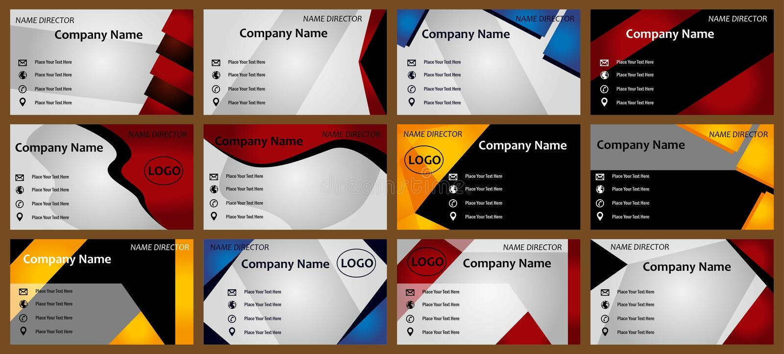 Modern business cards templates. New Modern business card set for many company .set of 12 business cards.more business cards in my portfolio vector illustration