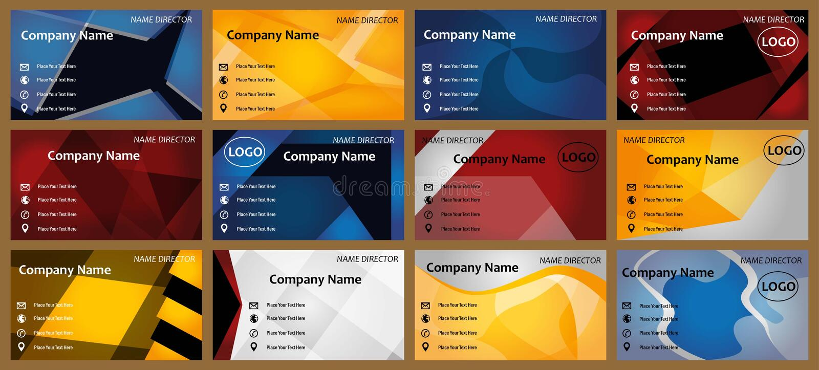 Modern business cards templates. New Modern business card set for many company .set of 12 business cards. more business cards in my portfolio vector illustration