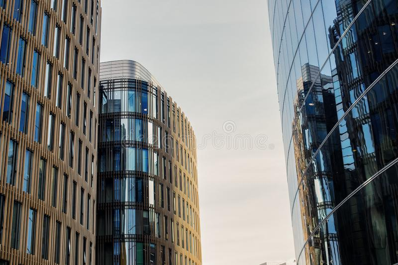 Modern business centres and office building with new modern exterior design in metropolitan city. royalty free stock images