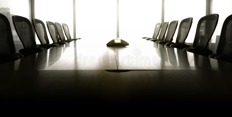 Modern business conference room with sun up in morning royalty free stock images