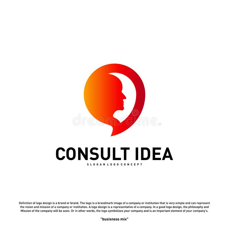 Modern Business Consulting Agency logo design template. Talk People Head logo concept.  vector illustration