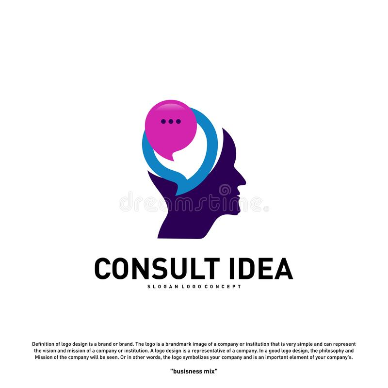 Modern Business Consulting Agency logo design template. Talk People Head logo concept.  stock illustration