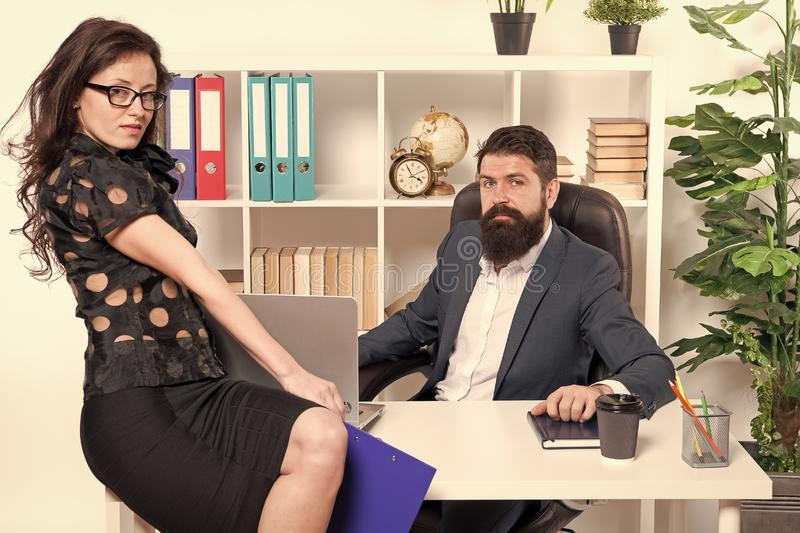 Modern business couple working in modern office. Businesspeople. Formal fashion dress code. Business couple in modern. Office. collaboration. Man with beard and stock image