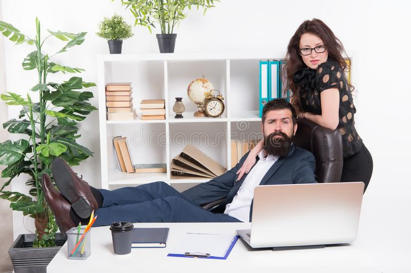 Modern business couple working office. Business people concept. Business couple in office. Man and attractive woman. Boss manager director and ceo position stock photos