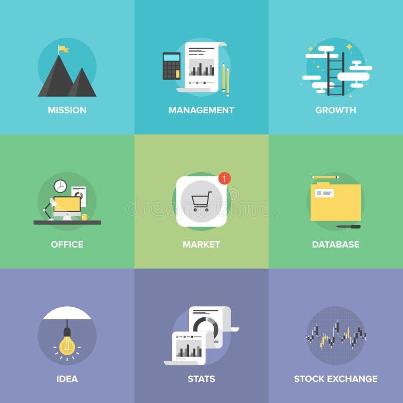 Modern business development flat icons set royalty free illustration