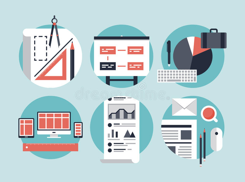 Modern business development process. Flat design vector illustration concept icons set of modern business organization management for planning and development royalty free illustration