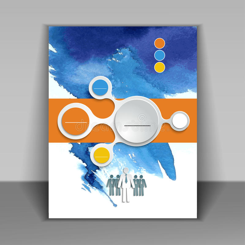 Modern business flyer brochure. Abstract watercolor style brochure design in blue royalty free illustration
