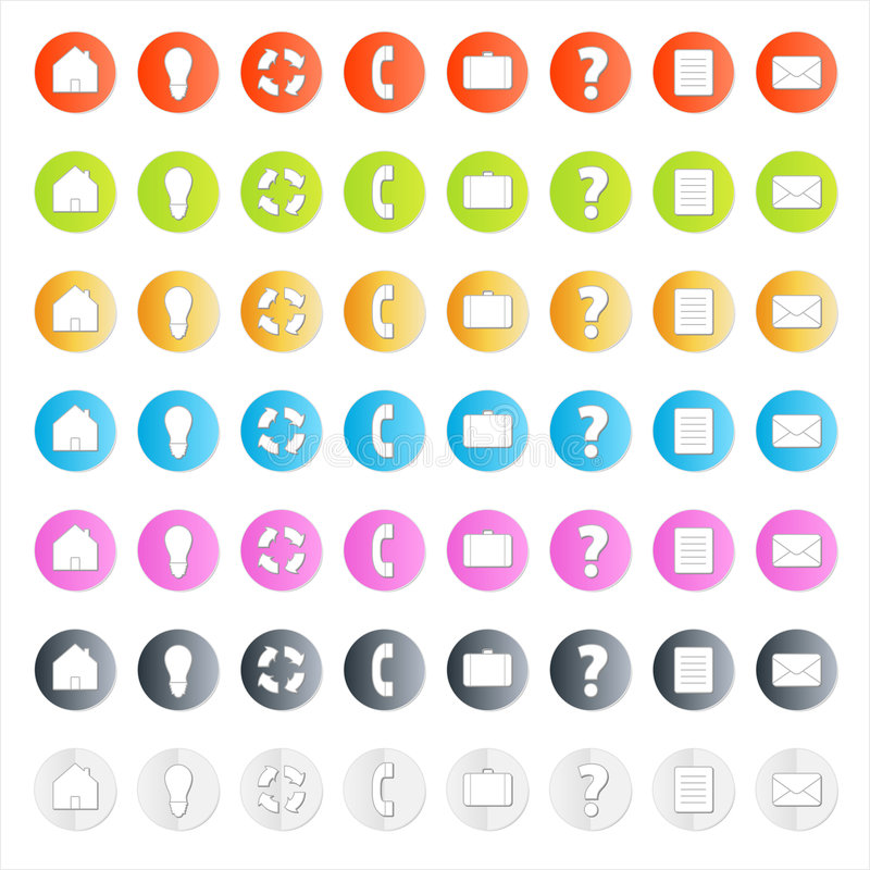 Download Modern Business Icon Set With Shadows Stock Vector - Illustration of element, network: 4481075