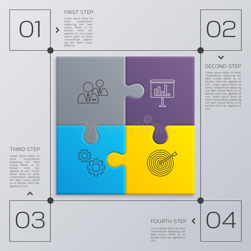 Modern business infographic for your presentation. Four steps to success. Puzzle pieces. Vector. stock illustration