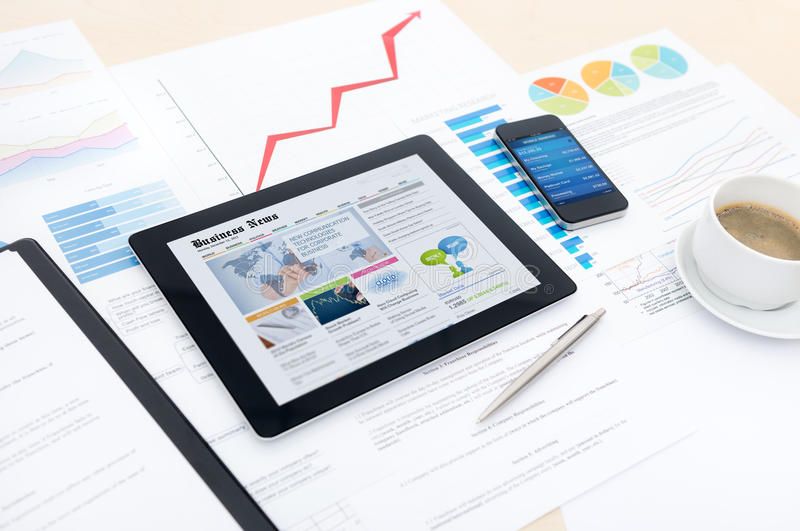Modern business with new technologies royalty free stock photos