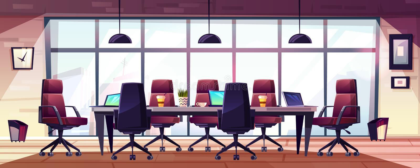 Modern business office meeting room cartoon vector. Business meeting room, company boardroom interiour cartoon vector with comfortable armchairs, laptops and royalty free illustration