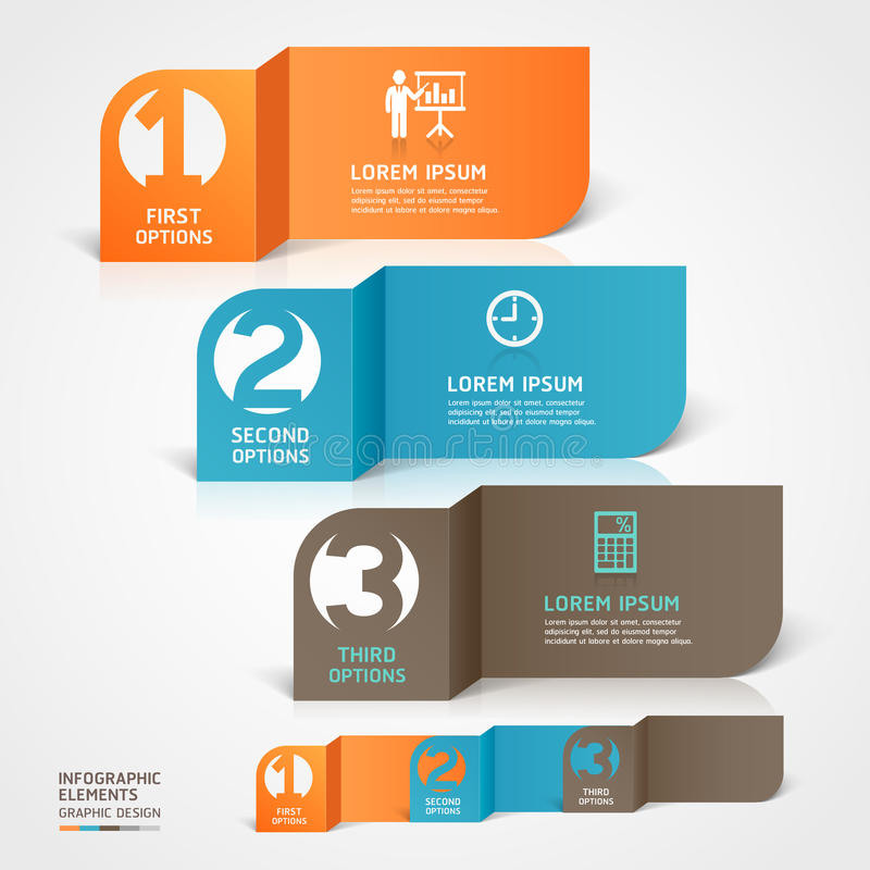Modern business paper cut infographics element. royalty free illustration