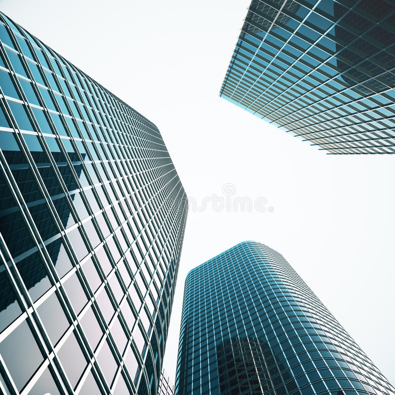 Modern business skyscrapers, high-rise buildings, architecture raising to the sky. Concepts of financial, economics. 3d vector illustration