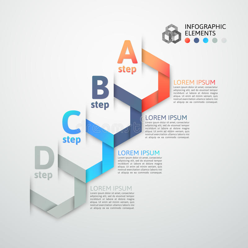 Modern business step origami style options banner royalty free illustration