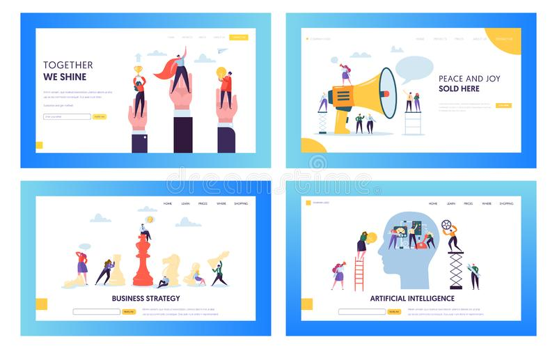 Modern Business Strategy Concept Landing Page Set. Artificial Intelligence and Data Science Technology. People Character with Cup. Modern Business Strategy royalty free illustration