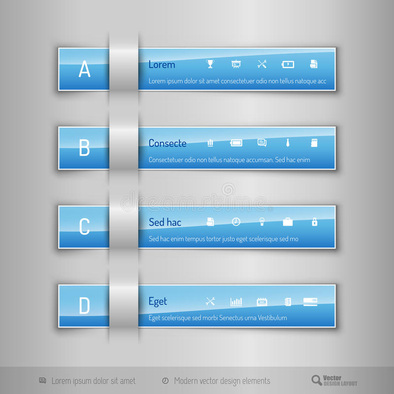 Modern business tabs - infographics - template for web design or royalty free illustration