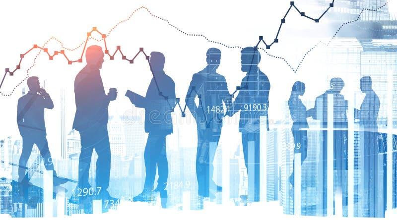 Modern business team in city, digital chart stock photo