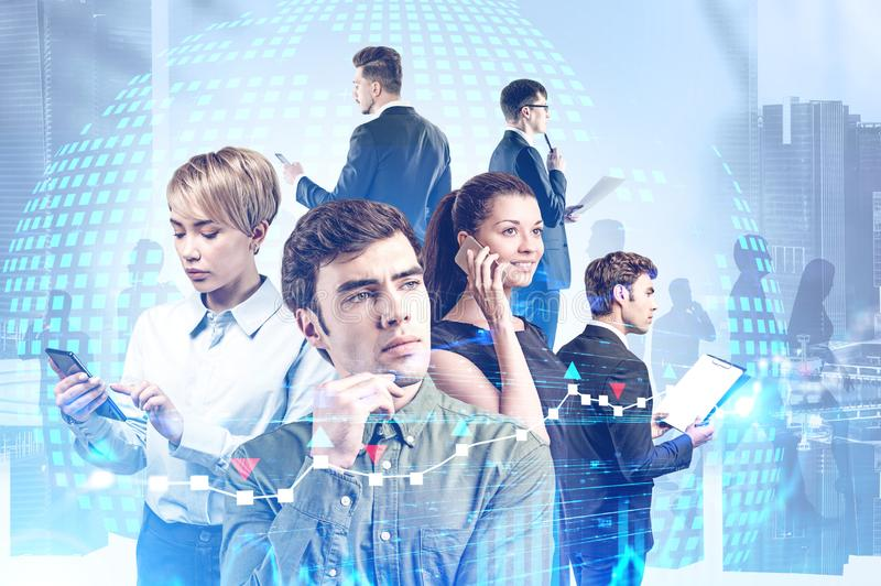 Modern business team in city, planet and graphs stock photo